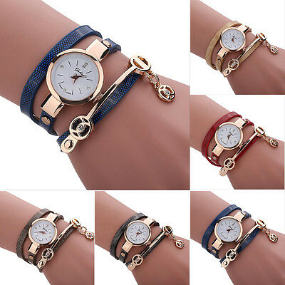 Women Leather Watch Stainless Steel Bracelet Analog Quartz Wrist Watch Fashion