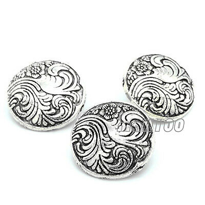 12PCS Antique Silver Hand-sewn Vintage Round Metal Button 18mm For Coat Sewing