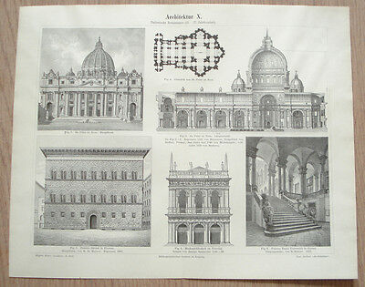 15-17c.ITALY ITALIAN RENAISSANCE ARCHITECTURE  St.Peter's Basilica ~GERMAN PRINT