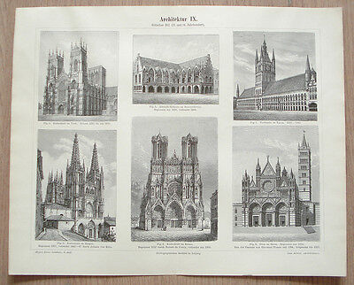 13&14c. GOTHIC STYLE ARCHITECTURE CATHEDRAL CHURCH TOWN HALL GERMAN PRINT PLATE