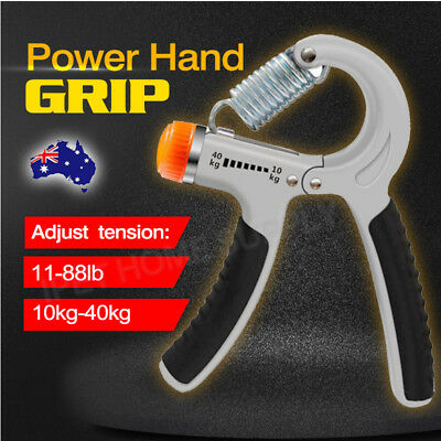 New Exercise Power Hand Grip 10 - 40 Kg Adjustable Wrist Forearm Strength Gray