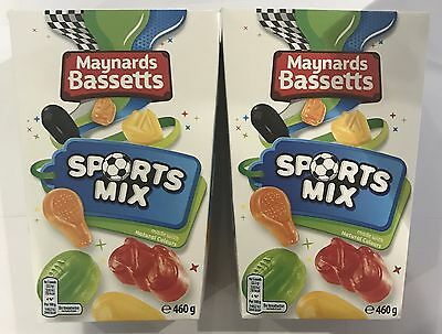 908910 2 x 460g BOXES OF MAYNARDS BASSETTS SPORTS MIX - FRUIT FLAVOUR GUMS