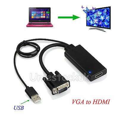 1080P Vga To Hdmi Converter + Usb Audio Video Cable Adapter Laptop Pc Dvd Hd Tv