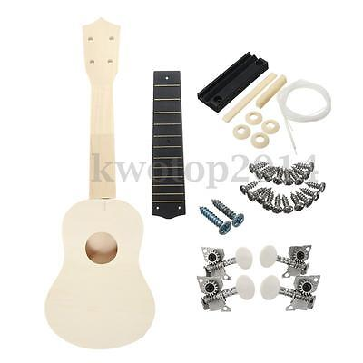 21'' Ukulele Soprano Hawaiian Guitar Uke Kit White Wooden Musical Instrument DIY
