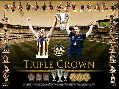 """Hawthorn Hawks """"Triple Crown"""" Three-Peat Official Licensed Print Of Only 1000"""