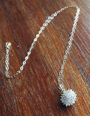 9ct Gold Diamond Cluster Necklace on 9ct Gold Chain