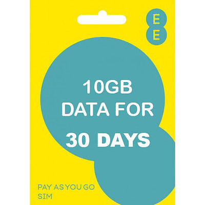 EE 4G PAY As You Go Trio SIM card With £10 Credit
