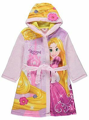 Girls Disney Princess Rapunzel Fleece Hooded Dressing Gown Robe Age's 1- 7 Years