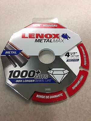 "LENOX 1972921 4-1/2"" x .05 x 7/8"" MetalMax Diamond Edge  Cutoff Wheel Metal Max"