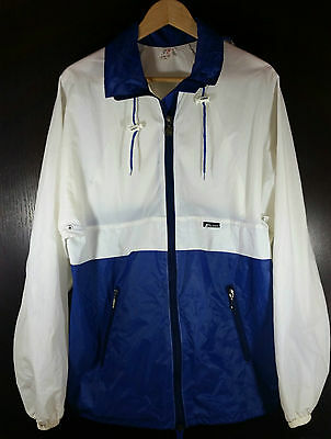 Vintage K-Way Jacket Sz 8 XL Rain Coat Convertible Pouch Blue White Hood Vented