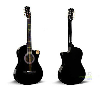 "New Professional 38"" Acoustic Callaway Folk Guitar Starter Package Black"