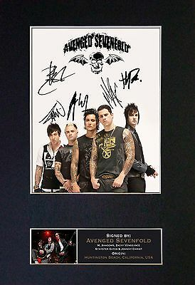 AVENGED SEVENFOLD Signed Mounted Autograph Photo Prints A4 120