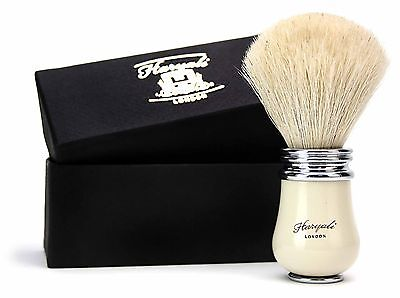 Pure White Badger Hair Shaving Brush With Ivory Handle. For Men's Perfect Shave.