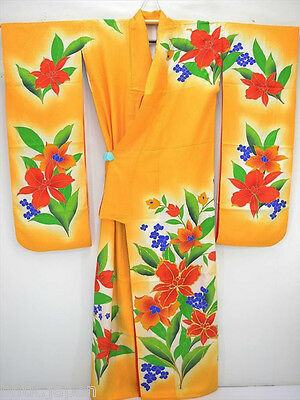 打ち掛け Uchikake Kimono en soie - ORANGE et ORCHIDEES - Made in Japan