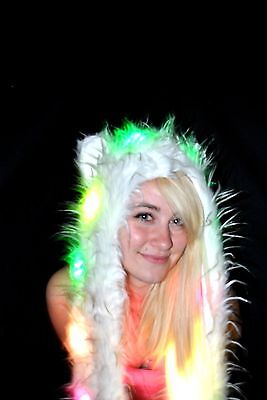 2 Pack- Led Light up Fuzzy Animal Hat  - Coral / Pink- White Black Spirit Hood