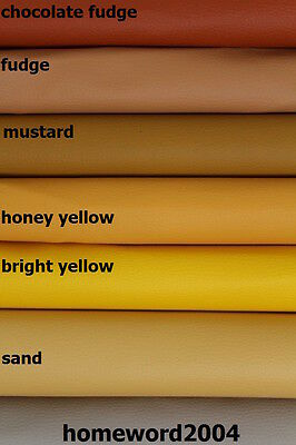 Faux Leather Upholstery Fabric Leatherette YELLOW FUDGE SHADES