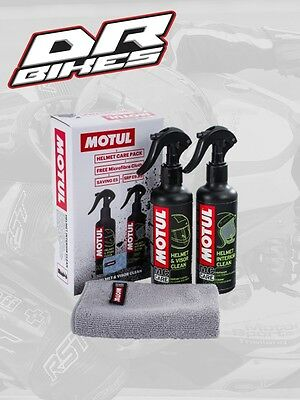 Motul Cleaning/Cleaner Care Pack/Kit For Bike/Motorcycle Crash Helmet/Lid/Visor