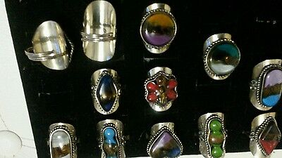 Peruvian Lot Of 10 Adjustable Fused Glass Stone Rings