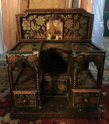 Antique Persian Qajar Jewelry And Ladies Accessories lacquer painting Cabinet