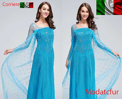 Frozen Elsa vestito Adulto COSTUME Dress carnevale Party TRAVESTIMENTI