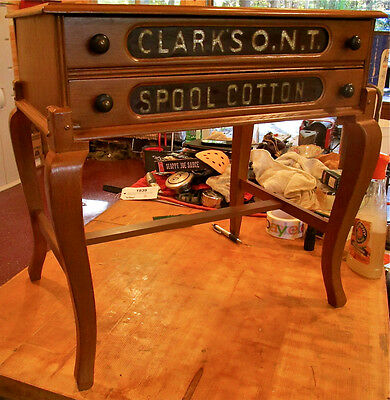 Clark's ONT Drawer Spool Cabinet on Legs. Original Ruby Glass Drawer Fronts