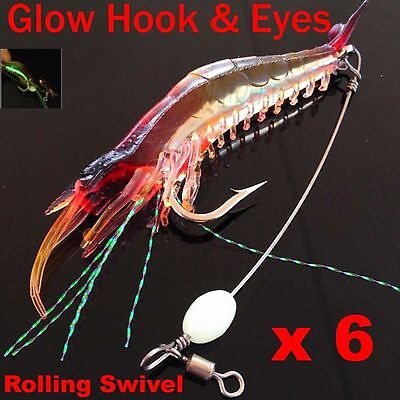 6 Soft Plastic Fishing Lures Tackle Prawn Shrimp Flathead Bream Cod Bass Lure