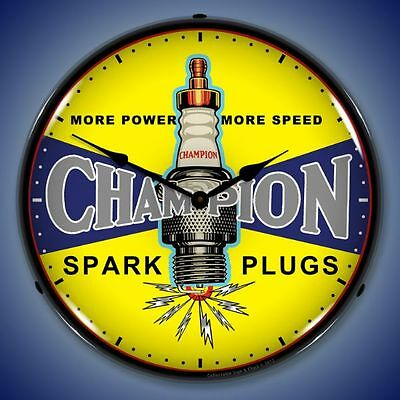 "Nostalgic "" Champion Spark Plug Vintage Logo "" Lighted Backlit Advertising Clock"