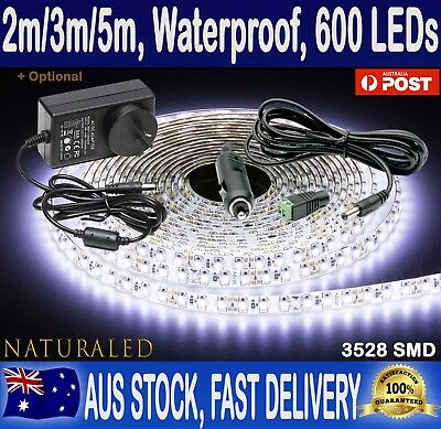 2M, 3M, 5M 600 LED Strip Lights Cool White 12V Waterproof Flexible, car, camping