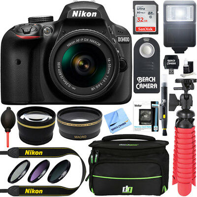 Nikon D3400 24.2 MP DSLR Camera  AF-P DX 18-55mm VR Lens Kit 32GB Memory Bundle