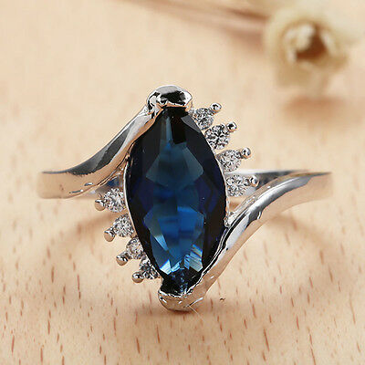 Women Fashion 925 Sterling Silver Sapphire Marquise Cut Ring Wedding Jewelry