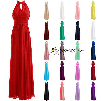 Cheap STOCK Formal Long Wedding Bridesmaid Dress Halter Prom Party Evening Gowns