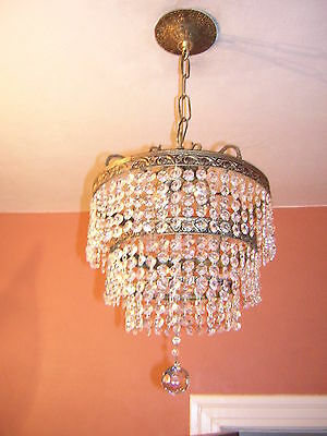 Antique Crystal 3 Tier Wedding Cake Chandelier From Spain