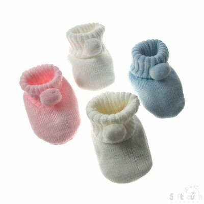 knitted baby booties with pompom design suitable for 0/3 months in 4 colours