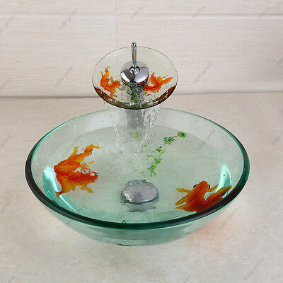 Bathroom Goldfish Hand Painting Tempered Glass Basin Sink bowl mixer brass taps