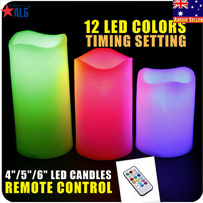 New Flameless Flickering Candles LED Electric Battery Operated 3 Pillar Candle