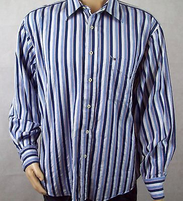 Like New Mens Tommy Hilfiger Long Sleeve Shirt - Cotton - Blue Striped - Size L