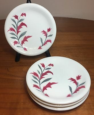 Sterling China Russel Wright Andy Warhol Dessert Plate Set of 4 Pink & Gray Leaf