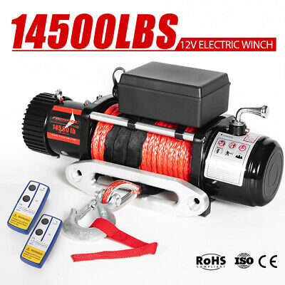Outranger 14500LBS Electric Winch 26M Synthetic Rope Wireless Remote 4X4 4WD 12V
