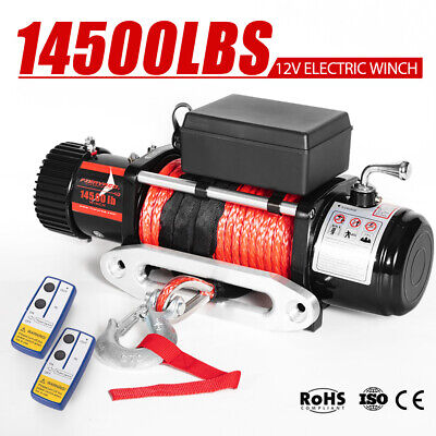 Wireless 12V Electric Winch 14500lbs / 6577Kg Synthetic Rope 4WD ATV 12Volt