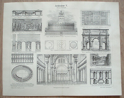 ROMAN ARCHITECTURE House Tomb Palace Triumphal Arch Aqueduct GERMAN PRINT PLATE