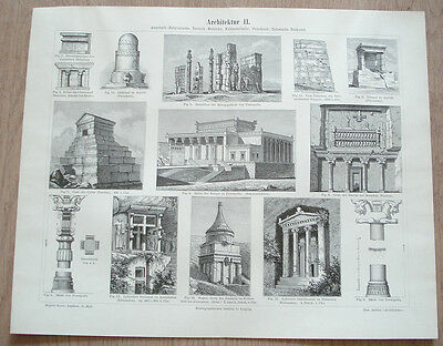 Assyrian Babylonian Persian Asian Phoenician Hebrew Architecture ~ German Print