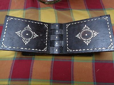 Vintage Tribal Folding Book Rest With Mother Of Pearl Inlay Dark Carved
