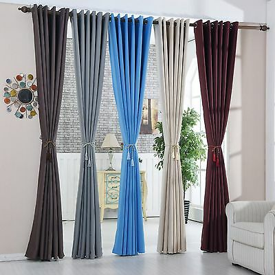 Single Panel Blockout Eyelet Curtain 100% Blackout Room Darkening Pure Fabric
