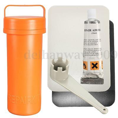Inflatable Boat Kayak Repair PVC Patch Glue Valve Wrench Container Bucket Kit