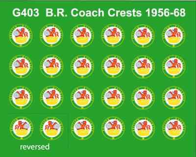 Modelmaster G403 BR Coaching Stock Crests 1956 - 1968  OO Gauge Transfers