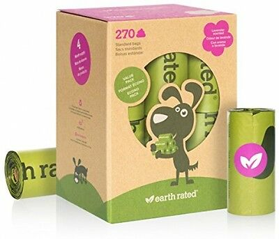 Earth Rated Dog Waste Bags, Biodegradable Lavender-Scented Poo Bag, 270 Bags NEW