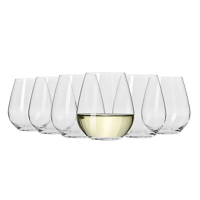 Krosno Flair Stemless White Wine Glass  420ml Set Of 6 Gift Boxed Brand New