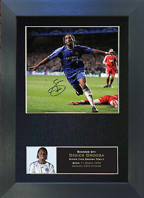 DIDIER DROGBA Signed Mounted Autograph Photo Prints A4 45