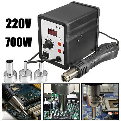 858D+ Hot Air Gun Rework Station SMD Solder Heat Soldering Digital 3 Nozzles