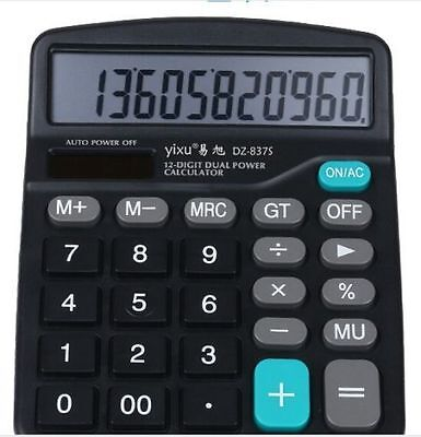 Dual power solar and battery powered 12 Digit Big Display Electronic Calculator
